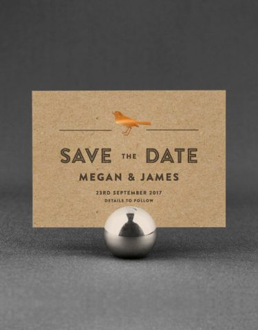 Engraves Save the Date Foil Stamped with Copper on Kraft Card