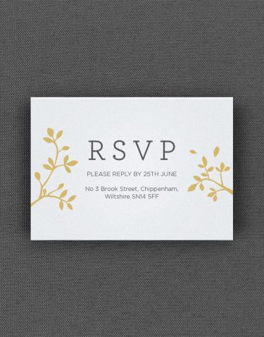 Harper RSVP Card with Buff Accent Ink on White Pearl Card