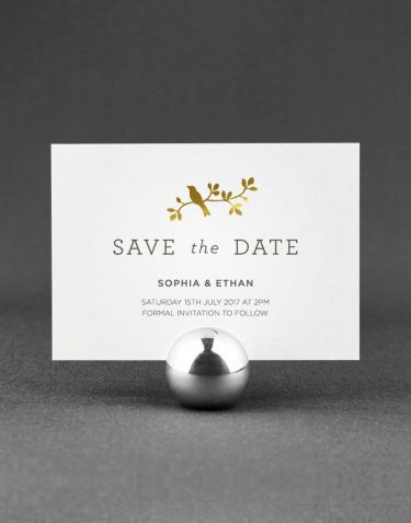Harper Save the Date Foil Pressed in Gold on White Card