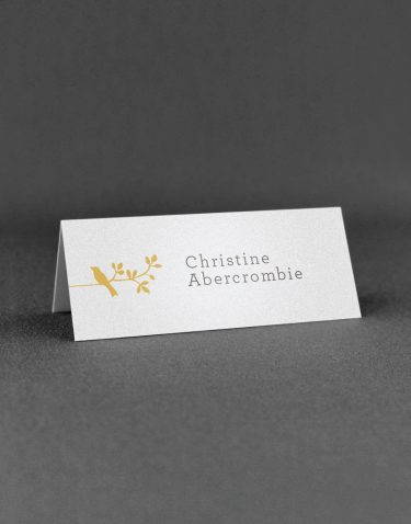 Harper Wedding Place Card with Bird Motif in Buff Ink