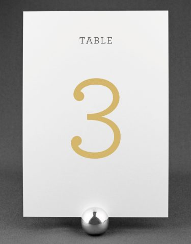 Harper Wedding Table Number with Buff Ink on White Card