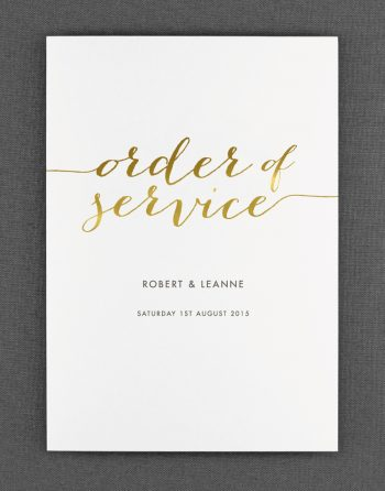 Louise Order of Service Foil Pressed in Gold on White Card