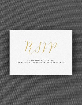 Louise RSVP card with Buff Accent Ink on White Card