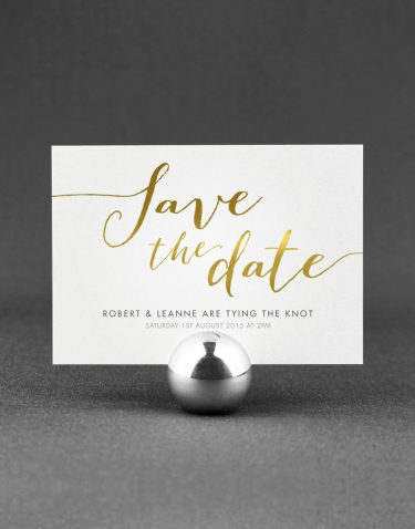 Louise Save the Date Foil Stamped in Gold on White Card