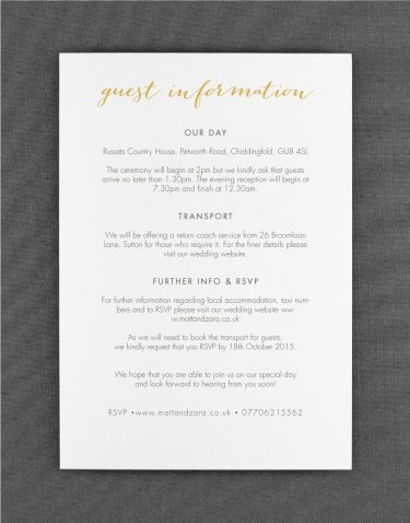Louise Wedding Information Card on White Card