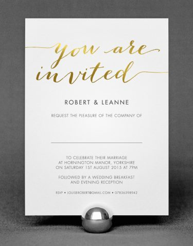 Louise Wedding Invitation Foil Pressed in Gold on White Card