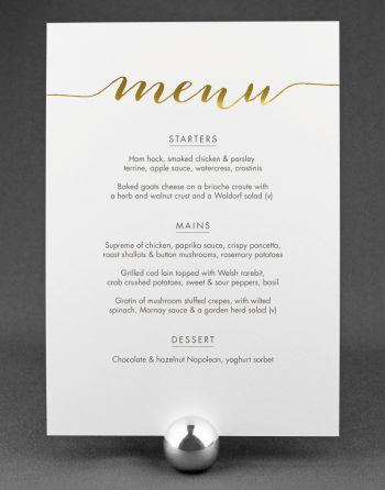 Louise Wedding Menu with Foil Stamped Gold on White Card