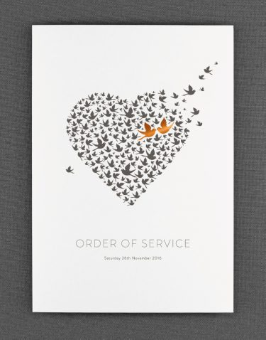 Love Birds Order of Service Foil Pressed in Copper on White Card