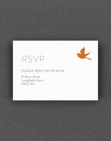 Love Birds RSVP Card with Amber Accent Ink on White Card
