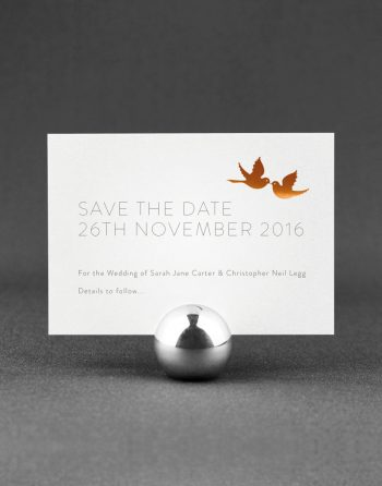 Love Birds Save the Date Foil Printed in Copper on White Pearl Card