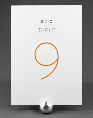 Love Birds Wedding Table Number with Amber Accent Ink on White Card