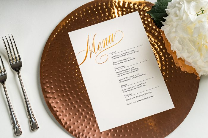 Pemberley Menu foiled in Rose Gold on a White Pearl Card