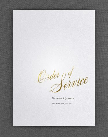 Pemberley Order of Service Foil Pressed with Gold on White Pearl Card