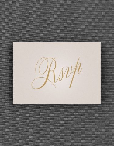 Pemberley RSVP Card with Buff Accent Ink on Oyster Pearl Card
