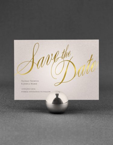 Pemberley Save the Date Foil Printed with Gold on Oyster Pearl