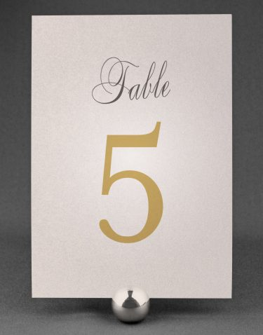 Pemberley Table Number Printed on Oyster Pearl Card