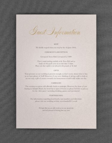 Pemberley Wedding Information Cards on Oyster Pearl Card