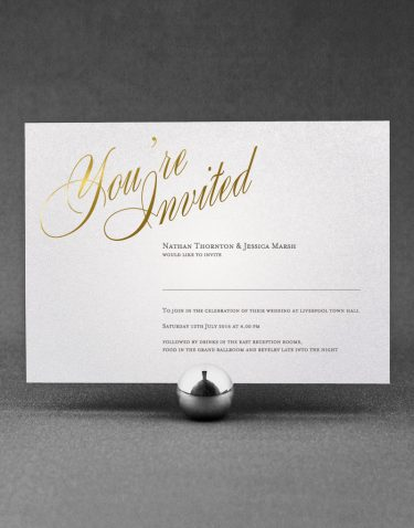 Pemberley Wedding Invitation Foil Pressed in Gold on White Pearl Card