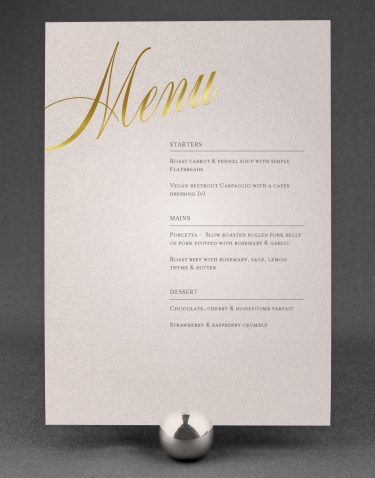Pemberley Wedding Menu Foil Pressed with Gold on Oyster Pearl Card