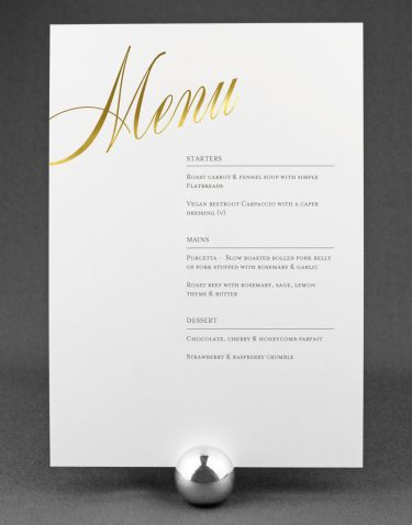 Pemberley Wedding Menu Foil Pressed with Gold on White Card