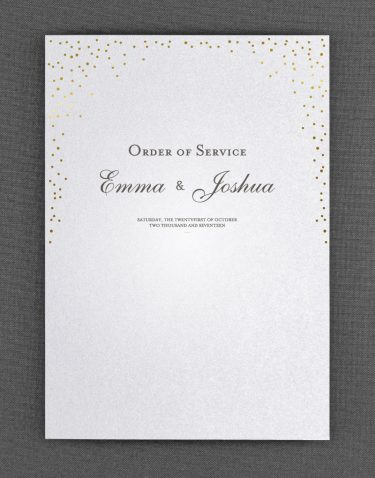 Sparkle Order of Service Foil Printed in Gold on White Pearl Card