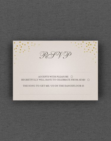Sparkle RSVP Card with Ore Accent Ink on Oyster Pearl Card
