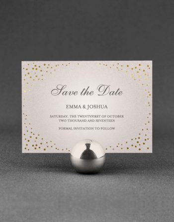 Sparkle Save the Date Foil Pressed in Gold on Oyster Pearl Card