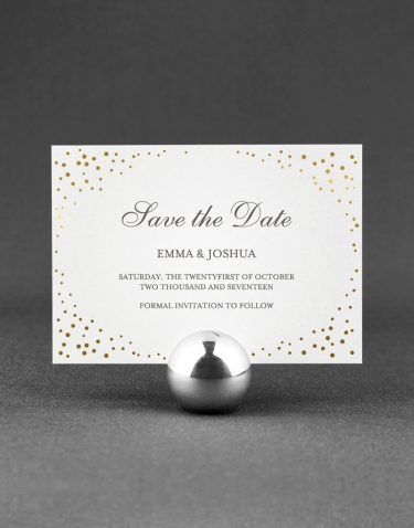 Sparkle Save the Date Foil Pressed in Gold on White Card