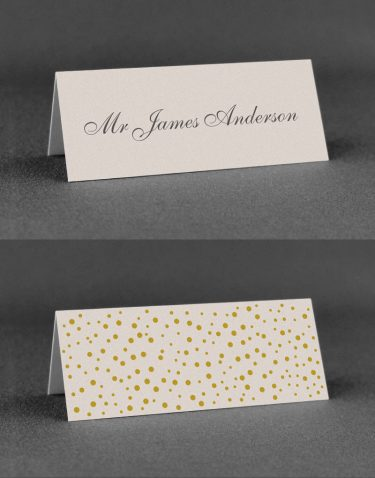 Sparkle Wedding Place Cards on Oyster Pearl Card