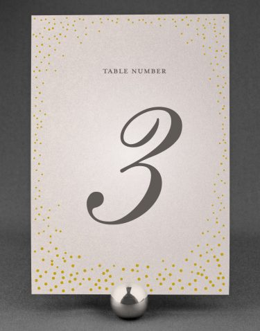 Sparkle Wedding Table Number on Oyster Pearl Card
