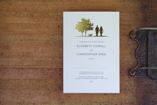 Country Walk Wedding Invitation Foil Stamped in Gold on White Card