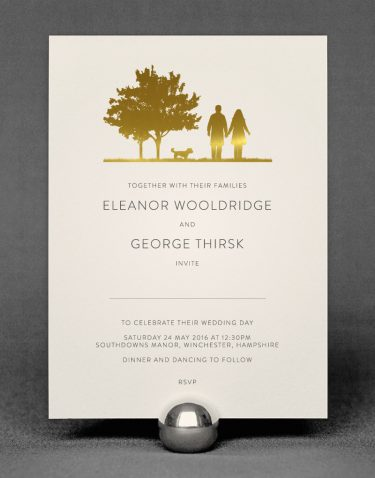 Country Walk Wedding Invitation Foil Stamped in Gold on Ivory Card