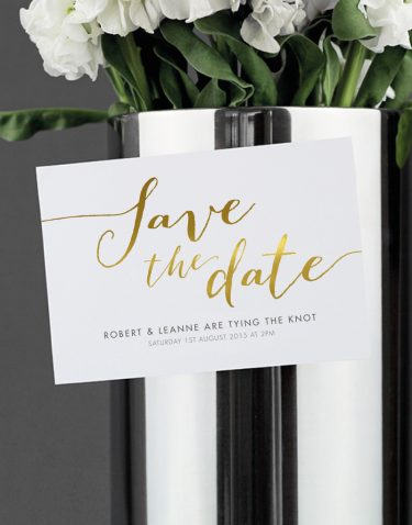 Louise Save the Date Magnet Foil Printed in Gold