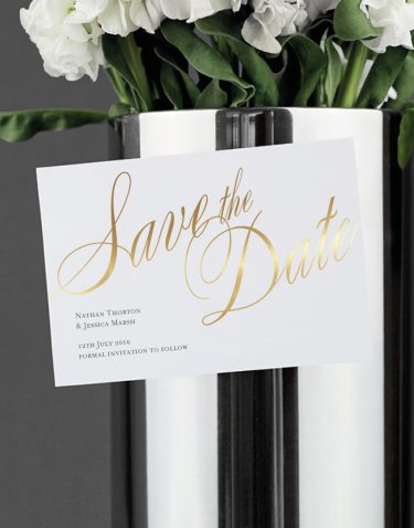 Pemberley Save the Date Magnet Foil Stamped in Gold
