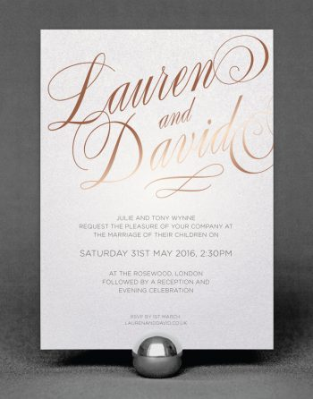 Script Wedding Invitation Foil Pressed in Rose Gold on White Pearl Card
