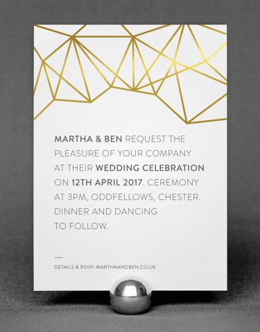 Geometric Wedding Invitation Foil Pressed in Gold on White Card