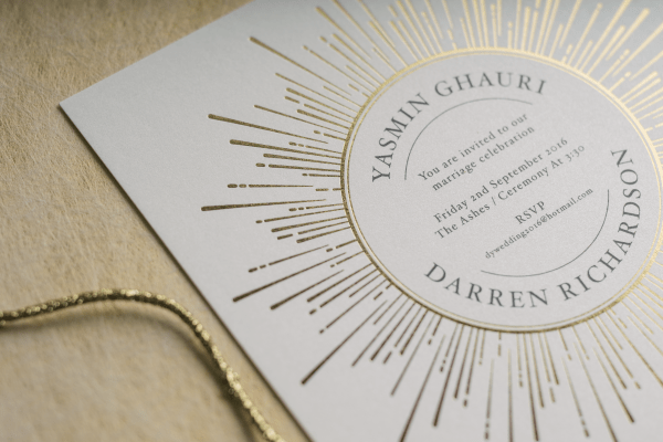 Sunburst Wedding Invitation Foil Stamped in Gold on White Pearl Card