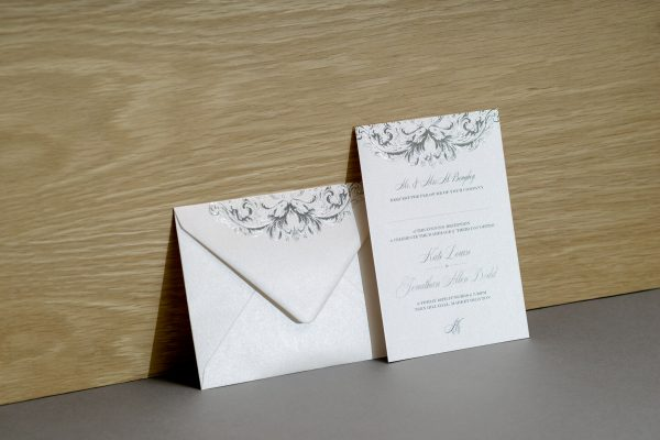 Baroque Wedding Stationery Foil Pressed in Silver on White Pearl Card