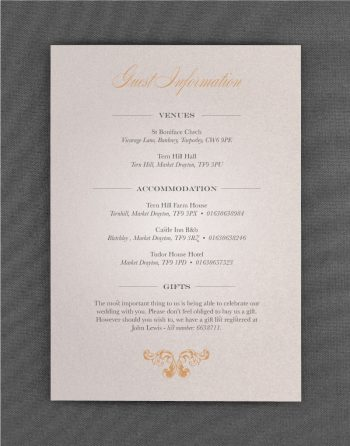 Beaumont Wedding Information Cards on Oyster Pearl Card