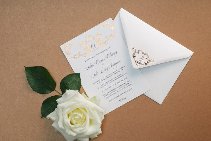 Beaumont Wedding Invitation & Envelope Foil Stamped in Rose Gold on White Pearl Card