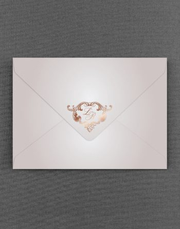 Beaumont Oyster Pearl Wedding Envelope Foil Stamped in Rose Gold