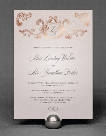 Beaumont Wedding Invitation Foil Pressed in Rose Gold on Oyster Pearl Card