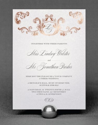 Beaumont Wedding Invitation Foil Printed in Rose Gold on White Pearl Card