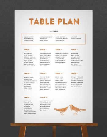 Engravers Wedding Table Plan