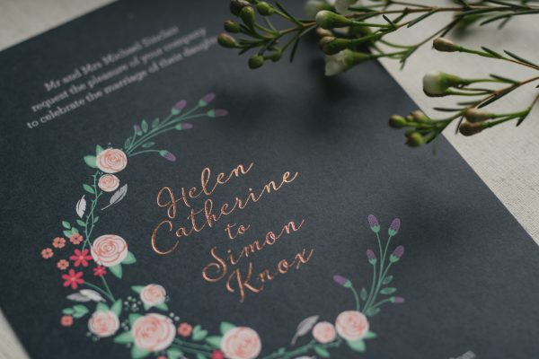 Farndon Wedding Invitation Foil Stamped in Blush on Navy Card