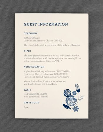 Farndon Wedding Guest Information Card