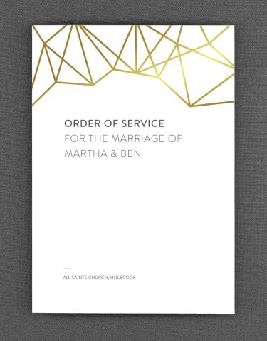 Geometric Order of Service Foil Printed in Gold on White Card