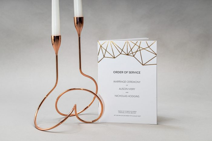 Geometric Order of Service printed in Rose Gold Foil on White Card