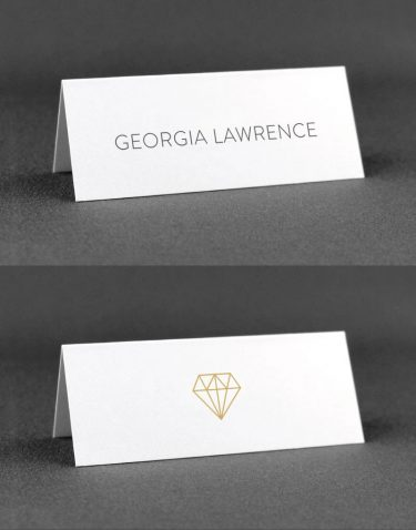Geometric Place Cards with Diamond on Reverse