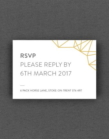 Geometric RSVP Card with Buff Accent Ink on White Pearl Card